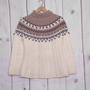 Garnet Hill Lambswool Nordic Pom Sweater XS